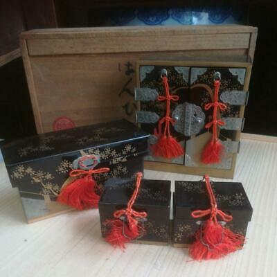 Antique Vintage Japanese Wooden Lacquered Makie Miniature Drawer Tansu Box