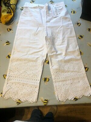 White Gorls M&s Trousers Age 10-11 New Never Worn