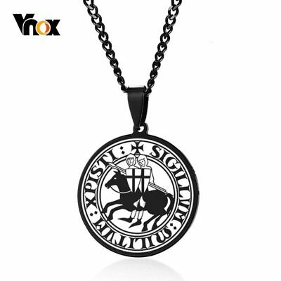 Vnox Stylish Mens Seal of The Knights Templar Medieval Arms Amulet Medallion