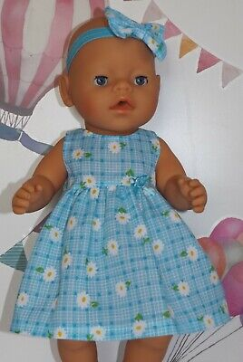 """Dolls Clothes to fit 17"""" Baby Born Blue Check Dress with White Daisies"""