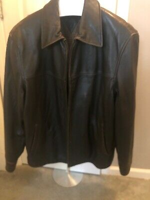 TOMMY HILFIGER Mens Leather Jacket  XL Brown , Soft Leather, gently Worn.