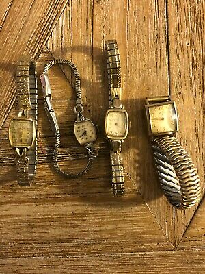 Lot Of (4) Vintage Gold Filled Womens Watches *Not Running* For Parts An Repair