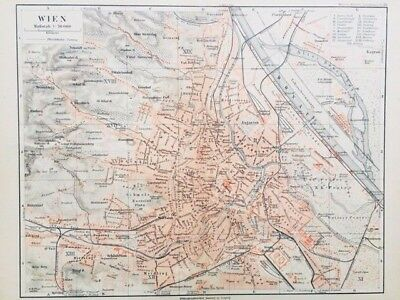 1895 Vienna Atlas Map in German Language - Color, Streets, Topographical RARE!