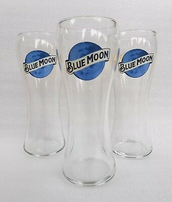 3 Blue Moon - Belgian-style witbier - Pint Beer Glasses - NEW - Home Bar - Pub