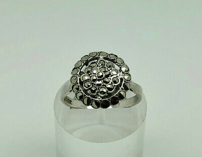 Gorgeous Antique Art Deco English Sterling Silver Marcasite Cocktail Ring Size P