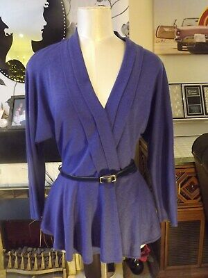 Vintage St Michael purple peplum top stretch rockabilly 40/50s style size 16