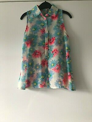 Girls Age 7-8 Years Young Dimension Floral Print Open Backed Sleeveless Top
