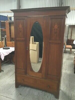 Edwardian Inlaid Mahogany Double Wardrobe - Good Condition