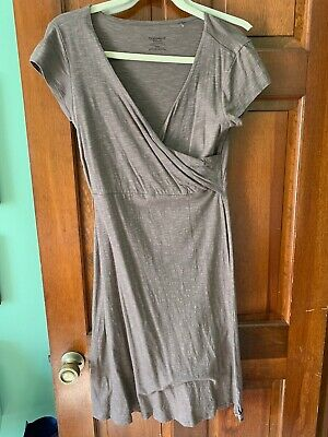 toad&co Horny Toad Womens Faux Wrap Short Sleeve Dress - Small - Brown Tan - EUC