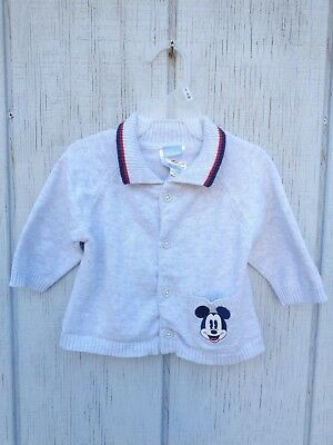 Disney Mickey Mouse Cardigan Off White Logo Baby Boys Girls Size 3/6 M 3m 6m 3-6