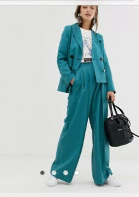 "New ASOS Teal Wide Trousers 8 10 Pants 28"" Waist 30"" Inner Leg Possible Suit"