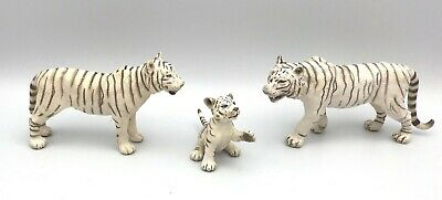 Schleich WHITE TIGER FAMILY Male Female & Cub Wildlife Figures 2007 Retired