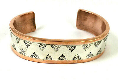 Large Thick Navajo Wylie Secatero Heavy Sterling Silver & Copper Bracelet. 95 Gr