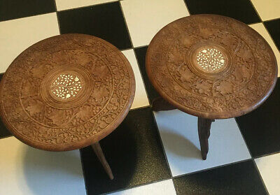 Hippy VTG  Indian Hand-Carved Wood Inlaid Folding Round Side Table Set Of 2