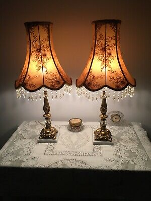 Amazing Pair Vintage Brass Table Lamps