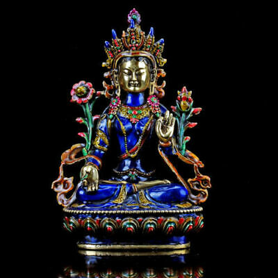 COLLECTABLE CLOISONNE HANDWORK CARVED A BUDDISM GODNESS GUANYIN STATUE f01