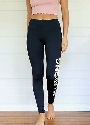 Billabong Women's Black Mid-Rise Active Leggings w/ Logo Detail - AUS 10