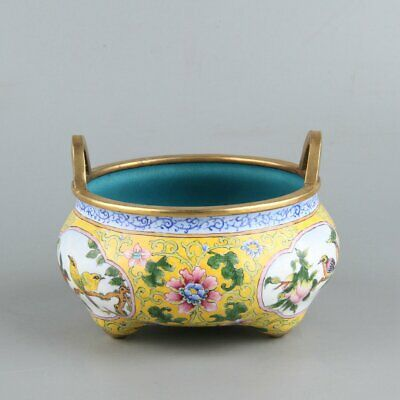 Chinese Exquisite Handmade Copper enamel incense burner