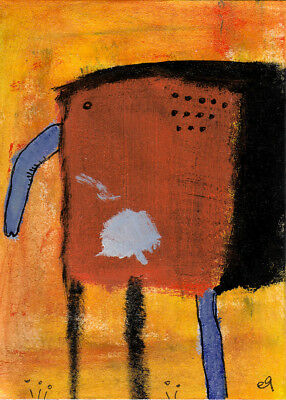 too much psychotherapy e9Art ACEO Outsider Art Brut Painting Intuitive Abstract