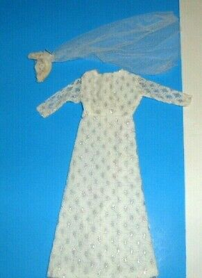 Vintage Clone Barbie TRESSY  doll clothes WHITE LACE WEDDING DRESS GOWN 1960's 4