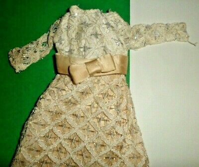 Vintage Clone Barbie TRESSY  doll clothes OFF WHITE  WEDDING DRESS GOWN 1960's
