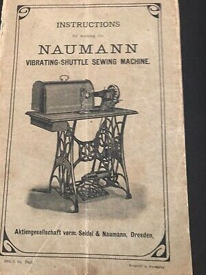 Instruction Book Naumann Vibrating Shuttle Sewing Machine