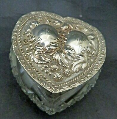 Antique Hobnail Cut Crystal Heart Shaped Box  English Sterling Silver Top 1904