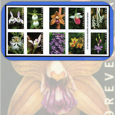 2020  WILD ORCHIDS  Block of 10  USPS Forever®  attached MINT Booklet Stamps