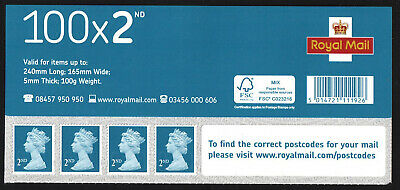 Royal Mail 100 x 2 2nd Class M19L MBIL Business Sheet Header Dated 22/08/2019