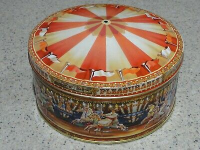 """Collectible """"Merry-Go-Round"""" Cookie Tin with Lid, VGC"""