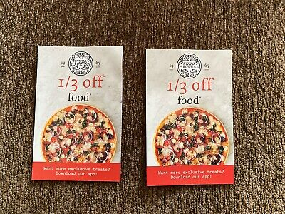 2 Coupons Vouchers For 1/3 Off Food At Pizza Express Valid Sun - Thu Until 21/05