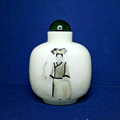 Vintage Chinese glass snuff bottle, 20th century. Painted from the outside.