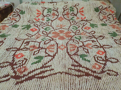 Vintage Chenille Bedspread Single Size Jolitex made in Brazil Funky Retro + Toy