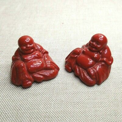 Antique A pair of Chinese Lacquer Happy Buddha,19th-20th century.