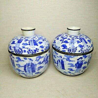 Antique A pair of Chinese blue and white porcelain bowls, 19th-20th century.