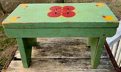 Wood Bench vintage rustic farmhouse primitive stencilled hand crafted foot stool