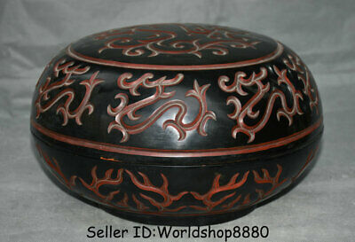 """12.4"""" Qianlong Marked Old China red Lacquerware Dynasty Dragon Round Jewelry box"""