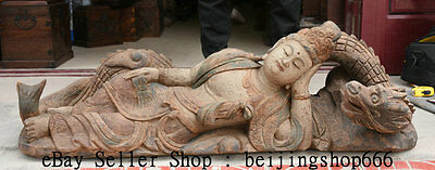 """44.8"""" Old Chinese lacquerware Wood Carving Guanyin Sleep Dragon Goddess Statue"""