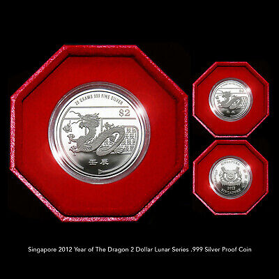 Singapore 2012 Year Of The Dragon $2 Lunar Series .999 Silver Proof Coin+Coa+Box