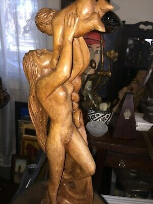 An Amazing Woman with Child hand carved wood Sculpture by Luis Anibal Potosi of.