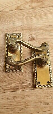 Pair door handles solid cast brass classic antique style for period home manor