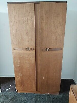 Teak retro wardrobes 1960's double single and dresser to match.