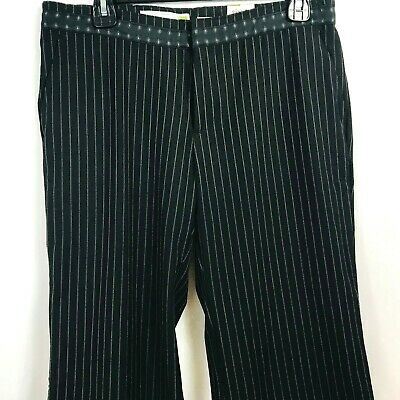 New Old Navy Black Gray Pinstripe Wide/Straight Leg Career Stretch Pants Size 8R