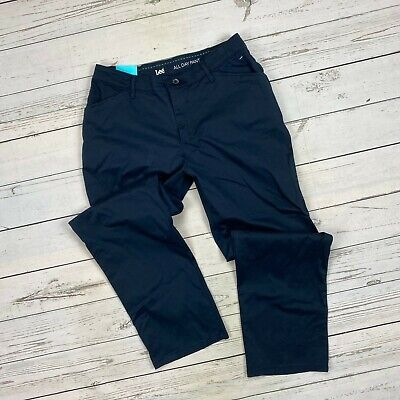 Lee All Day Pants Size 10 Short Womens Relaxed Fit Chinos Imperial Blue Straight