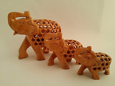Elephants Wooden Elephant Carved Out Wood Babies Inside Each Puzzle Animals
