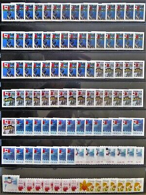 105 uncancelled Canadian postage stamps, no gum, total face value $56.62