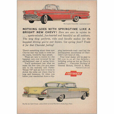 1958 Chevrolet: Nothing Goes with Springtime Vintage Print Ad