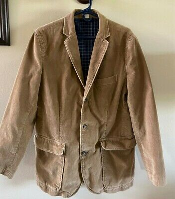 J CREW Men's Medium Corduroy Sports Coat Jacket Blazer Vintage Cord 3 Button