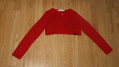 Girls Red Glitter Knit Long Sleeve Button Bolero Crop Cardigan H&M Age 6-8 Years