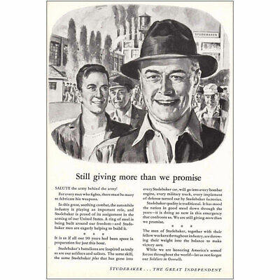Giving More Than We Promise Vintage Print Ad 1942 Studebaker